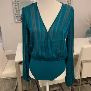 NWT Forever21 Peacock Blue Shadow Striped Bodysuit